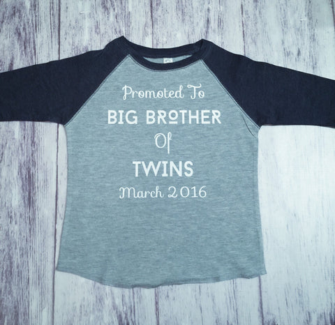 Big Brother Shirt, Big Brother To Twins Shirt, Brother Shirt, Pregnancy Announcement Shirt - Purple Elephant STL