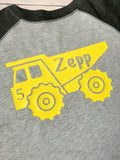 Construction Truck Birthday Shirt, Boys Truck Shirt, Truck Shirt, Truck Raglan - Purple Elephant STL