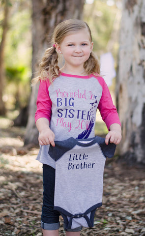Big Sister and Little Brother Matching Shirts, Brother & Sister Shirts, Gender Reveal Shirts - Purple Elephant STL