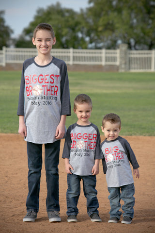Set of 3 Biggest Bigger & Big Brother Shirts, Brother Baseball Shirts, Gender Reveal Shirts - Purple Elephant STL