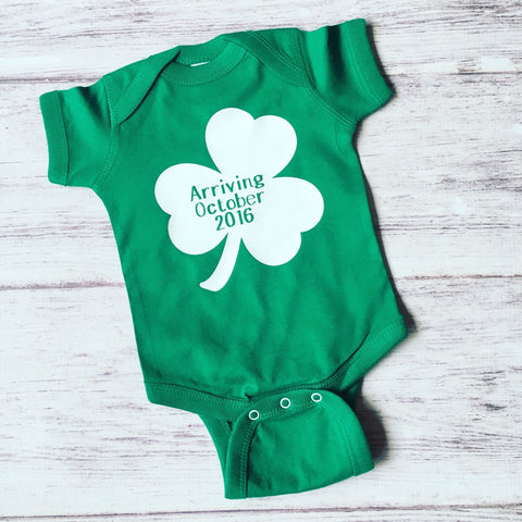 St Patty's Day Pregnancy Announcement Shirt, St. Patty's Day Baby Shirt, Pregnancy Announcement Shirt, Gender Reveal Shirt, Irish Baby - Purple Elephant STL
