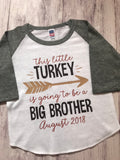 Thanksgiving Pregnancy Announcement, Promoted To Big Brother shirt, pregnancy announcement shirt, big brother shirt - Purple Elephant STL
