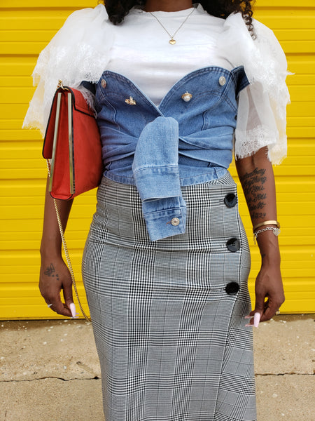 Denim torso crop top