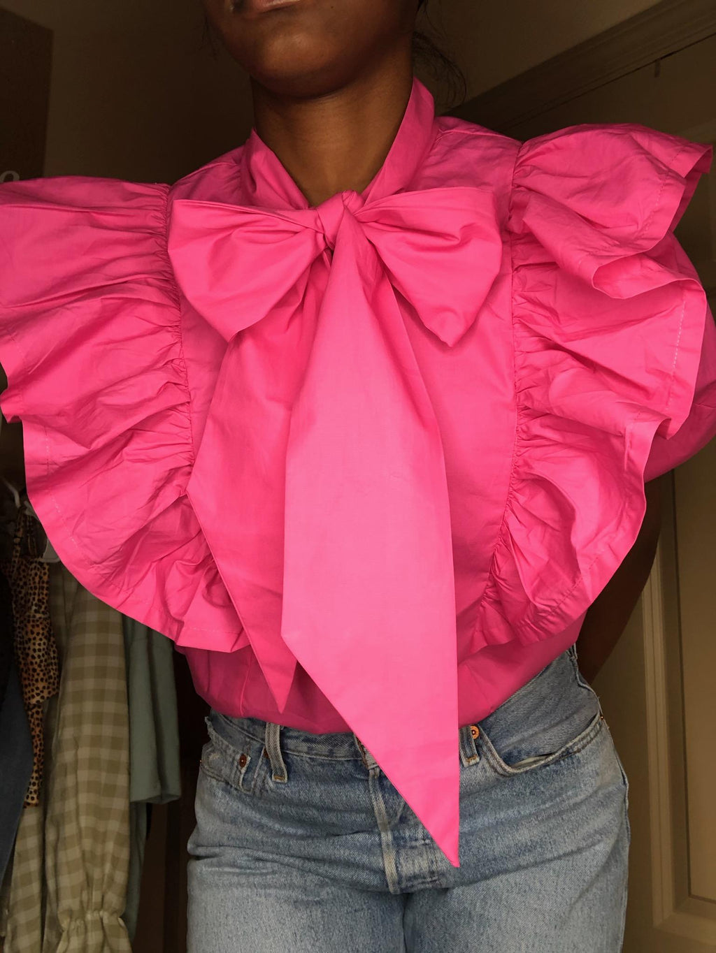 Exaggerated RuffleTie Neck Top