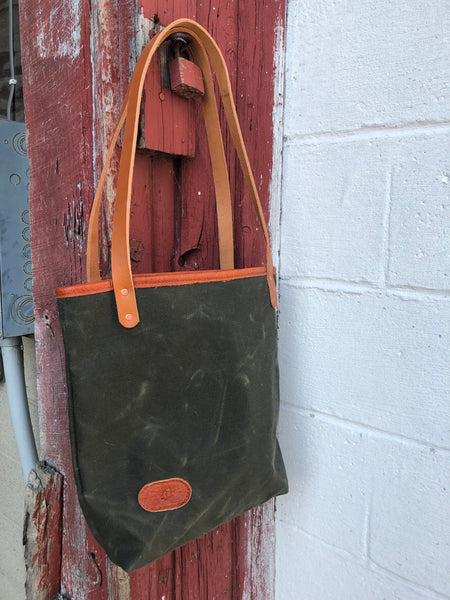 Olive Waxed Canvas Market Tote