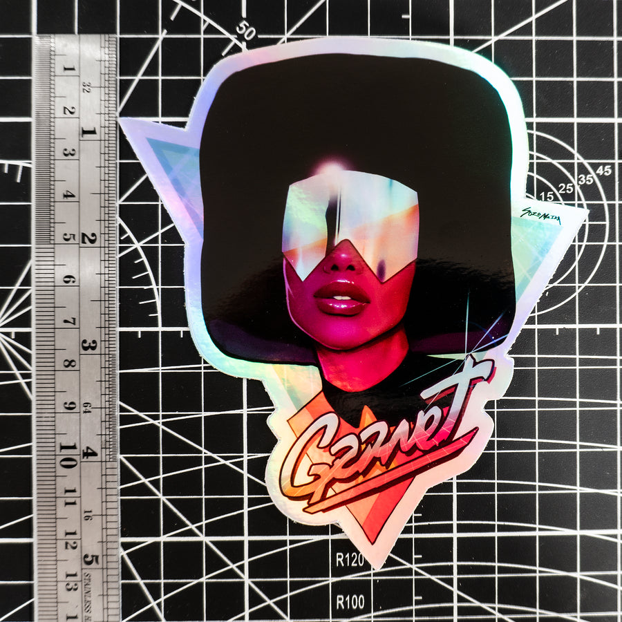 RETRO GARNET HOLOGRAPHIC STICKER