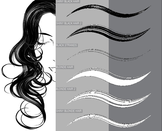 MANGA HAIR BRUSH SET | CLIP STUDIO PAINT