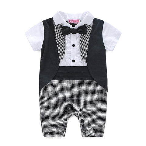 Formal Little Gentleman Tuxedo Short Sleeve Romper