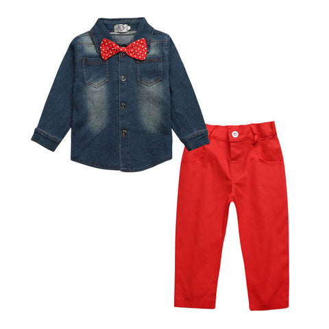 New Hot Fashion Jean Shirt + Bow Tie + Light Weight Pants*