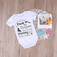 "'Pack My Diapers "".....Cotton Short Sleeve Letter Printed Onesie"