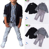 Three-Piece Gentleman Boys Plaid Shirt + Pants +Jacket