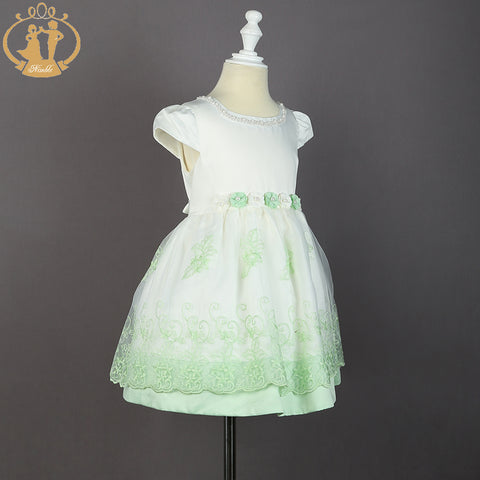 Princess Lace Embroidery Dress + Pearls at Neckline