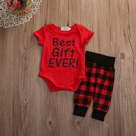 Two Piece Short Sleeve Red  Letter Romper + Checked Long Pants
