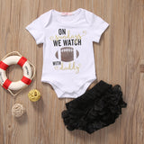 """On Sundays We Watch....."" Short Sleeve Romper Bodysuit"