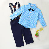 Long Sleeve Bow tie Plaid Shirt + Pants