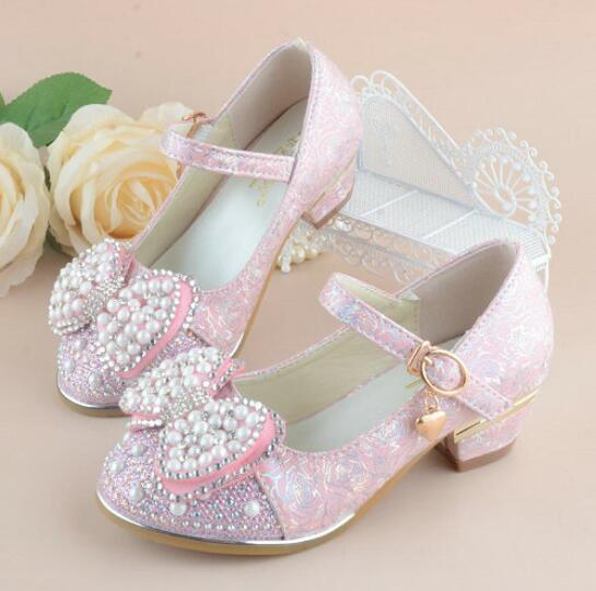 Princess High Heel Pearl Bow Dress Shoes