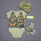 Cotton Short Sleeve O-Neck Onesie + Hat + Socks