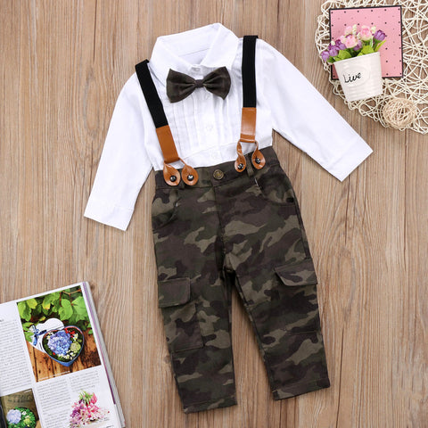 Bow Tie Camouflage Cotton T-Shirt Suspender Pants