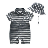 **LIMITED SUPPLY** Summer Toddler Boys Striped Romper + Sunhat