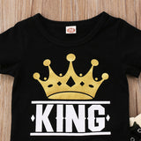 """King"" Short Sleeve T-Shirt with Camouflage Matching Pants"
