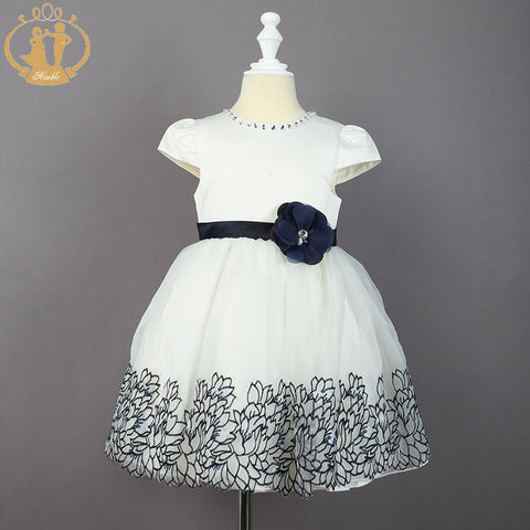Embroidery Hem Princess Cap Sleeve Dress