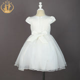 Elegant Pearl Decorative White Formal Bow Dress