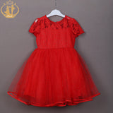 Flower Lace Beading Bow Elegant Short Sleeve Sassy Red Dress
