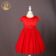 Red Cap Sleeve Tulle Party Dress