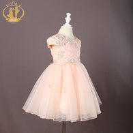 Embroidery Bodice Cap Sleeve Princess Dress