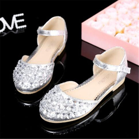 Glittery Princess Rhinestone Flat Heel Shoes