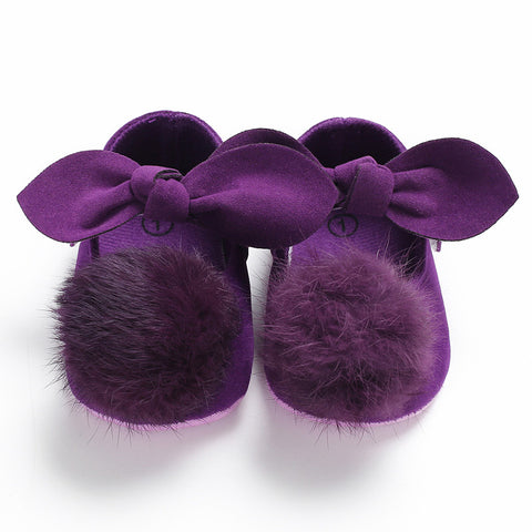 Purple Plush Bow-knot Pre-Walkers