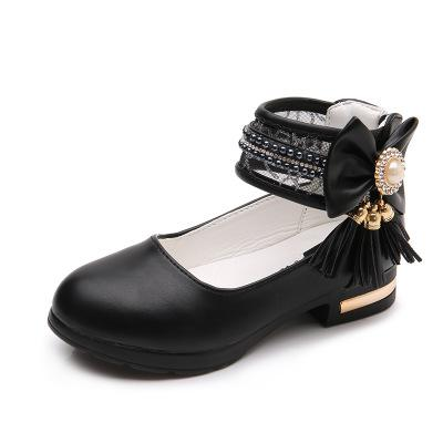 Princess Leather Bow Tassel Shoes