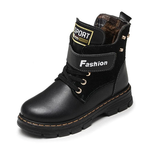 Genuine Leather Mid-Calf Plush Snow Boots