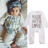 "Precious ""Made with Love"" Long Sleeve Romper"
