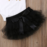 Onesie + Black Tutu Skirt +Headband