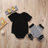 Daddy Is My (S) Onesie +Striped Leg Warmer + Bow Headband