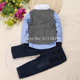 Three-Piece Casual Suit + Shirt + Vest + Jeans