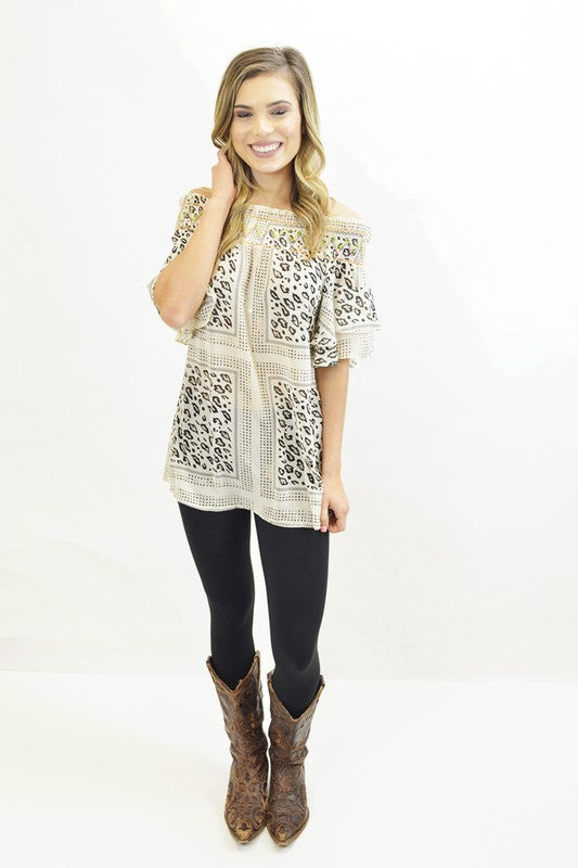 Off the Shoulder Leopard Top - The Dainty Cactus Boutique