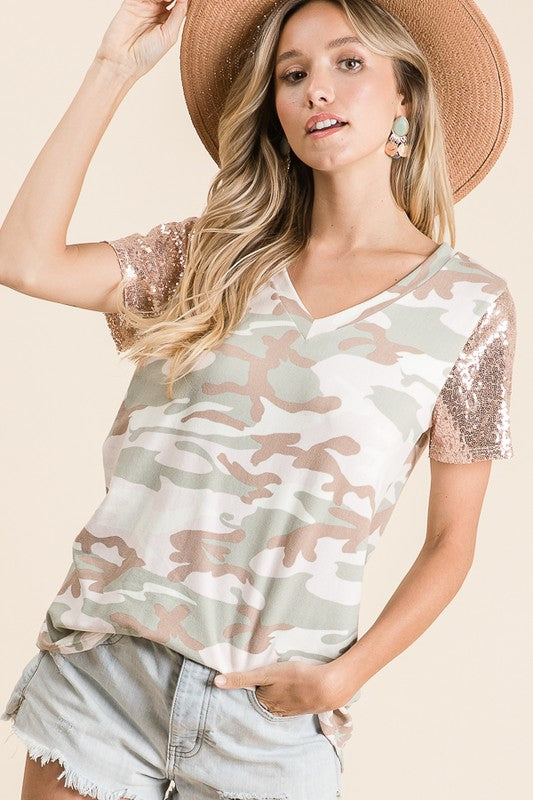 Bling It Up Camo Top