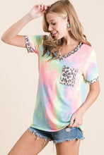 V-Neck Leopard Tie Dye Top