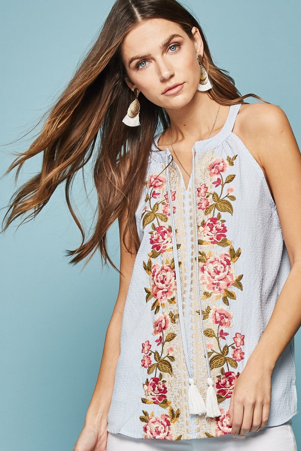 Lovely Embroidered Tank - The Dainty Cactus Boutique