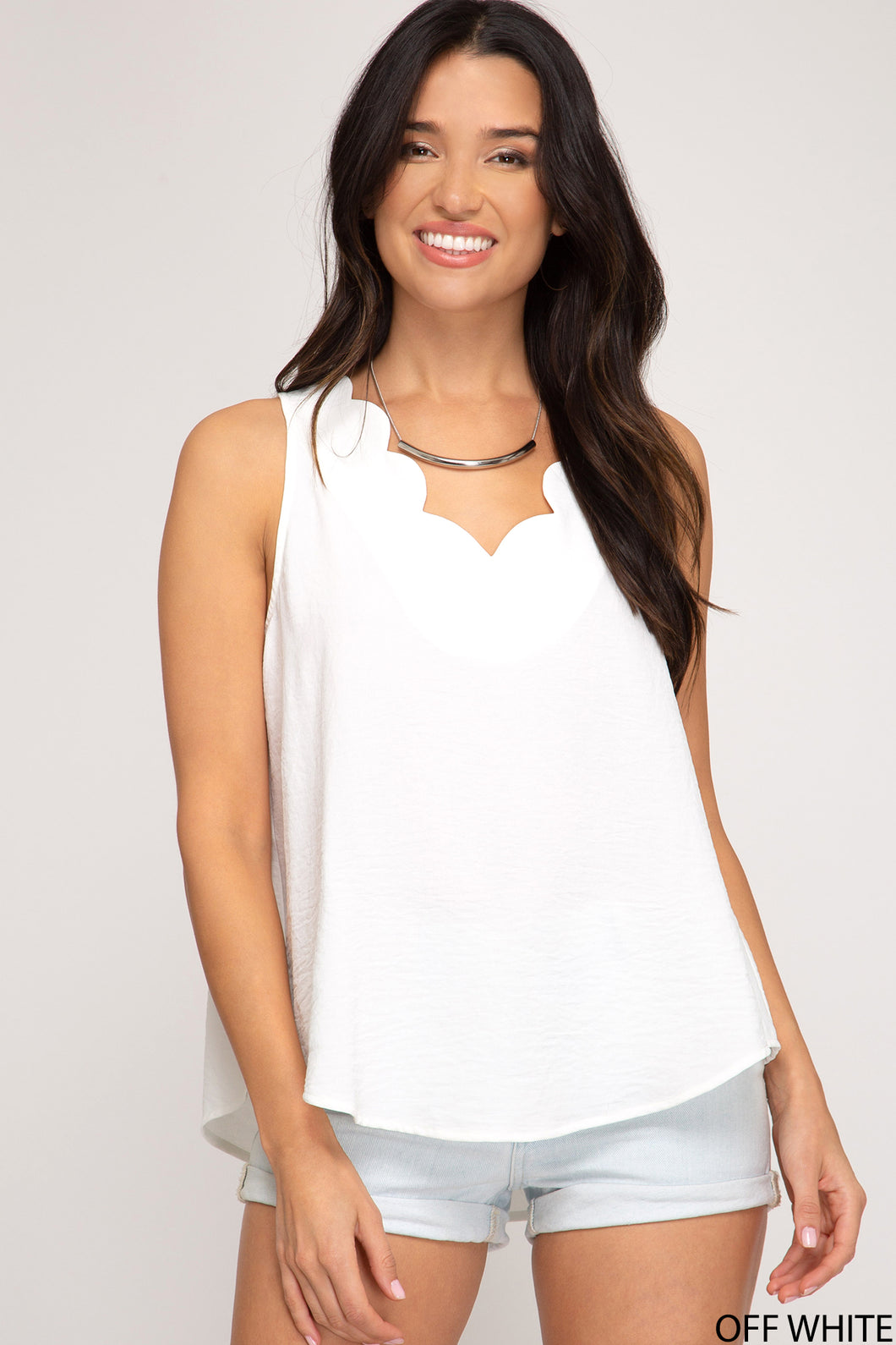 Scalloped Sleeveless Beauty - The Dainty Cactus Boutique