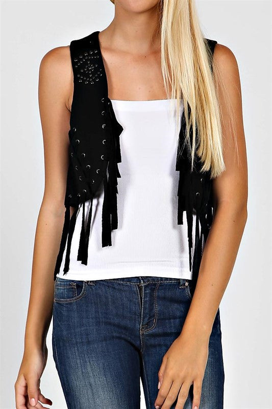 Studded Fringe Vest - The Dainty Cactus Boutique