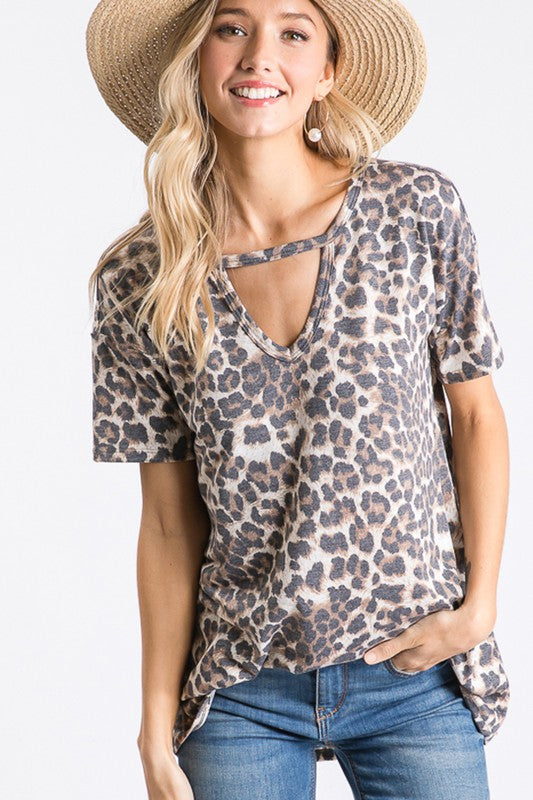 Leopard Cut Out Top