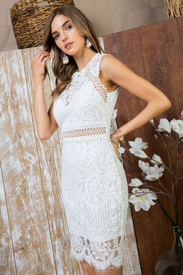 Elegant White Lace Dress - The Dainty Cactus Boutique