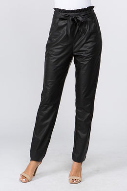 Faux Leather Ruffle Waist Pant