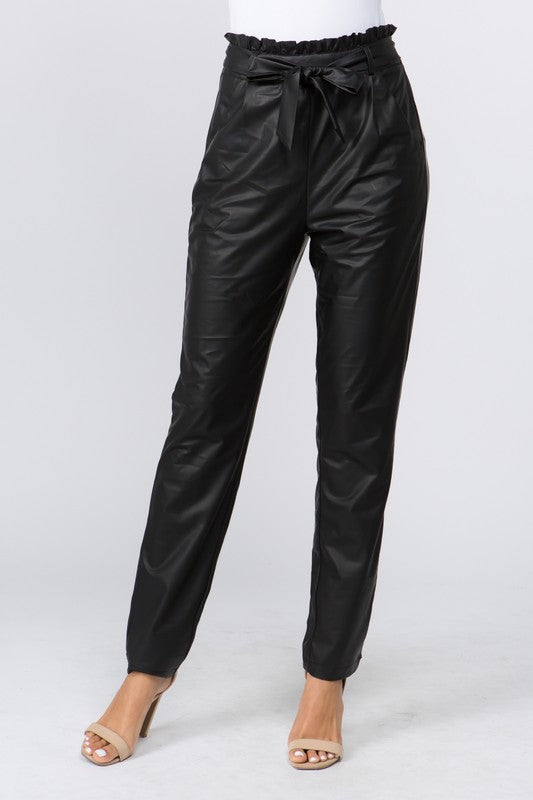 Faux Leather Ruffle Waist Pant - The Dainty Cactus Boutique