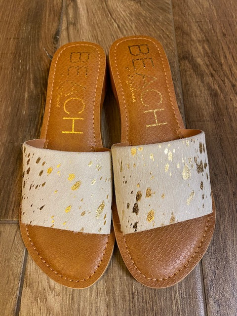 Havana Gold Cowhide Slide Sandal - The Dainty Cactus Boutique
