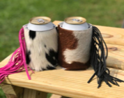 Cowhide Koozie w/ Fringe - The Dainty Cactus Boutique