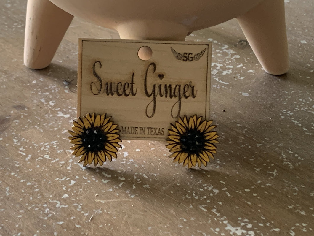 Embellished Sunflower Studs